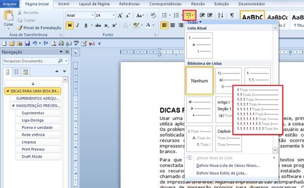 Criando a Numeração Automática de Títulos de um documento no Microsoft Word 2010 bem como a ...
